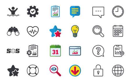 조난 신호 lifebuoy 아이콘입니다. 심장 박동 기호입니다. 수영 흔적. 채팅, 신고 및 캘린더 표지판. 별, 통계 및 다운로드 아이콘. 질문, 시계 및 글로브입