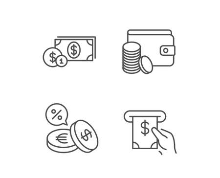 Money, Cash and Wallet line icons. ATM, Currency and Coins signs. Banking, Euro and Dollar symbols. Quality design elements. Editable stroke. Vector