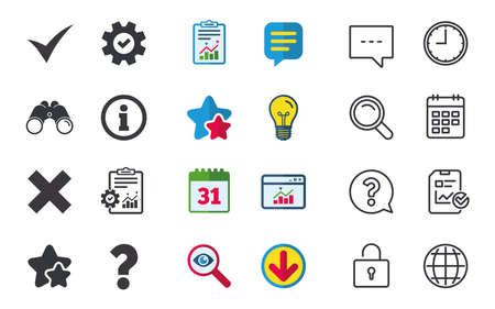 Information icons, Delete and question FAQ mark signs, Approved check mark symbol, Chat, Report and Calendar signs, Stars, Statistics and Download icons, Question, Clock and Globe Vector