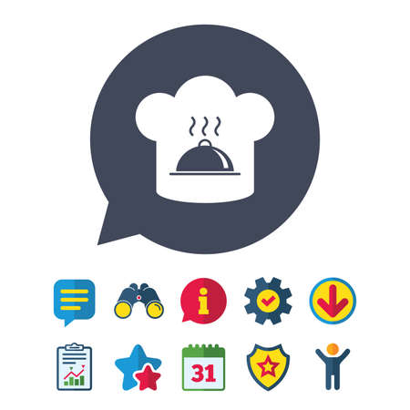 work clothes: Chef hat sign icon. Cooking symbol. Cooks hat with hot dish. Information, Report and Speech bubble signs. Binoculars, Service and Download, Stars icons. Vector