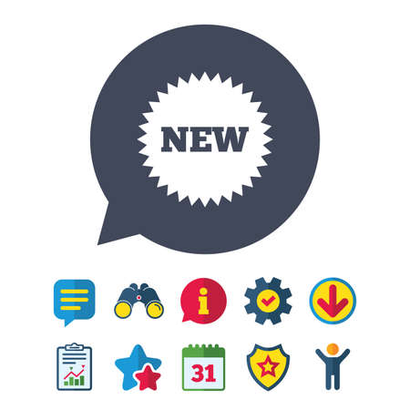 New sign icon. New arrival star symbol. Information, Report and Speech bubble signs. Binoculars, Service and Download, Stars icons. Vector
