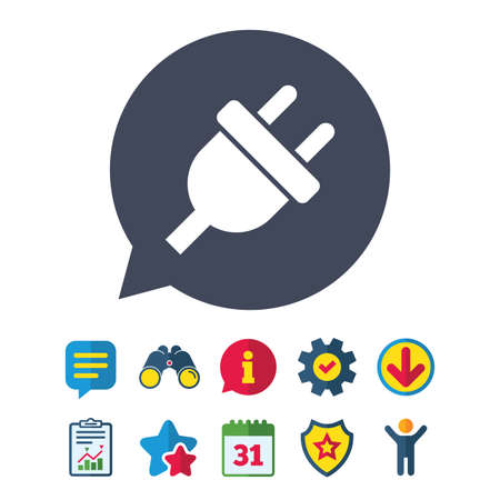 Electric plug sign icon. Power energy symbol. Information, Report and Speech bubble signs. Binoculars, Service and Download, Stars icons. Vector