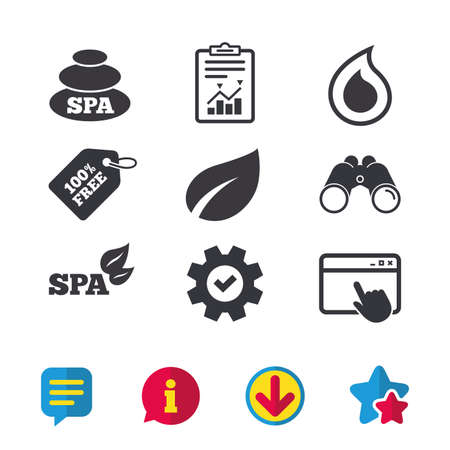 Spa stones icons. Water drop with leaf symbols. Natural tear sign. Browser window, Report and Service signs. Binoculars, Information and Download icons. Stars and Chat. Vector