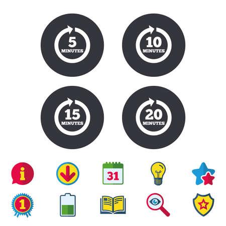 Elke 5, 10, 15 en 20 minuten iconen. Full rotatie pijl symbolen. Iteratieve proces tekens. Kalender, Informatie en Download tekens. Sterren, Award en Book iconen. Gloeilamp, Schild en Zoeken. Vector