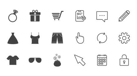 Clothes, accessories icons. T-shirt, sunglasses signs. Wedding dress and ring symbols. Chat, Report and Calendar line signs. Service, Pencil and Locker icons. Click, Rotation and Cursor. Vector