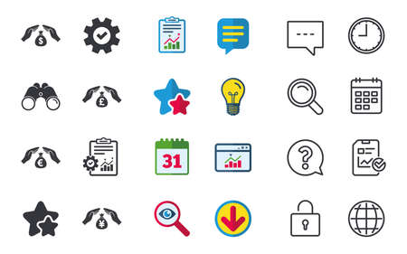 Hands insurance icons. Money bag savings insurance symbols. Hands protect cash. Currency in dollars, yen, pounds and euro signs. Chat, Report and Calendar signs. Stars, Statistics and Download icons