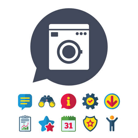 washhouse: Washing machine icon. Home appliances symbol. Information, Report and Speech bubble signs. Binoculars, Service and Download, Stars icons. Vector