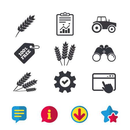 Landwirtschaftliche Ikonen. Weizen-Mais oder Gluten-freie Zeichen Symbole. Traktor Maschinen. Browser-Fenster, Report- und Service-Zeichen. Ferngläser, Informations- und Download-Icons. Sterne und Chat. Vektor Standard-Bild - 83167721