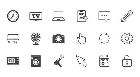 家電製品、デバイス アイコン。電子署名します。エアコン、洗濯機、電子レンジのシンボル。チャット、報告書、カレンダーの線標識。サービス、  イラスト・ベクター素材