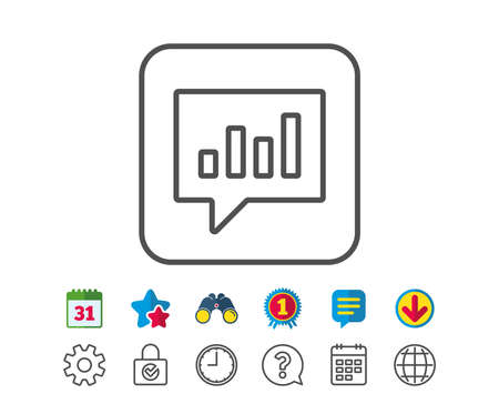 Chart line icon. Report graph or Sales growth sign in speech bubble. Analysis and Statistics data symbol. Calendar, Globe and Chat line signs. Binoculars, Award and Download icons. Editable stroke