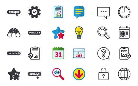 화살표 아이콘 세부 정보 마우스와 손 커서 기호 더 기호를 로그인합니다. 별, 통계 및 다운로드 아이콘. 질문, 시계 및 글로브입니다. 벡터 일러스트