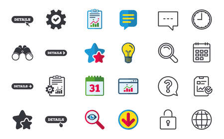 Details with arrow icon. More symbol with mouse and hand cursor pointer sign symbols. Stars, Statistics and Download icons. Question, Clock and Globe. Vector