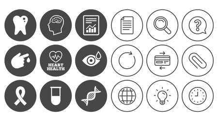 Medicine, medical health and diagnosis icons. Blood test, dna and neurology signs. Tooth, report symbols. Document, Globe and Clock line signs. Lamp, Magnifier and Paper clip icons. Vector