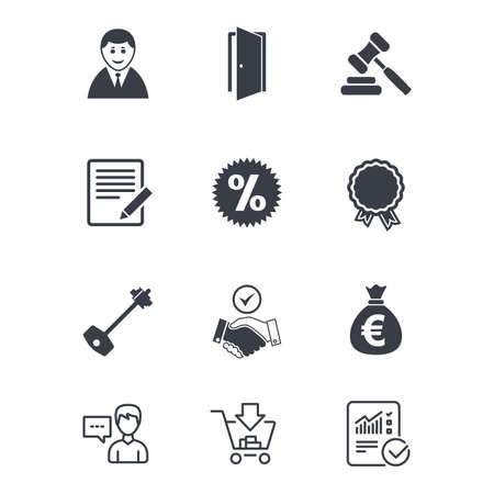 Real estate, auction icons. Home key, discount and door signs. Business agent, award medal symbols. Customer service, Shopping cart and Report line signs. Online shopping and Statistics. Vector