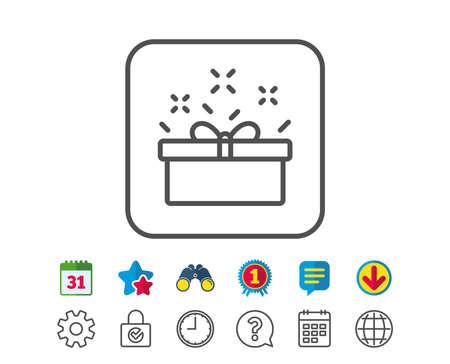 Cadeau doos lijn icoon. Present of Verkoop teken. Verjaardag Winkelsymbool. Pakket in Cadeau Wrap. Kalender, Globe en Chat lijntekens. Verrekijkers, Award en Download iconen. Bewerkbare slag. Vector Stock Illustratie