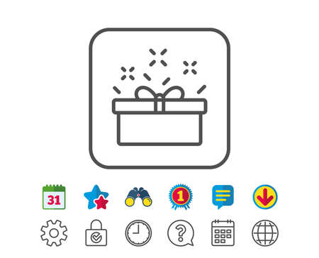Gift box line icon. Present or Sale sign. Birthday Shopping symbol. Package in Gift Wrap. Calendar, Globe and Chat line signs. Binoculars, Award and Download icons. Editable stroke. Vector Zdjęcie Seryjne - 83167788