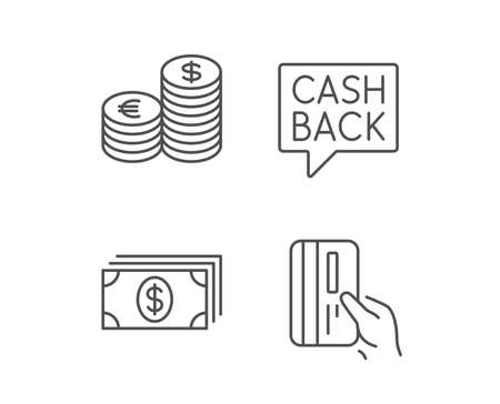 Money, Cash and Credit card line icons. Cashback service, Currency and Coins signs. Banking, Euro and Dollar symbols. Quality design elements. Editable stroke. Vector Illustration