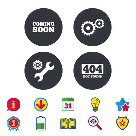 Coming soon icon. Repair service tool and gear symbols. Wrench sign. 404 Not found. Calendar, Information and Download signs. Stars, Award and Book icons. Light bulb, Shield and Search. Vector