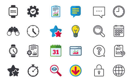 Smart watch icons. Mechanical clock time, Stopwatch timer symbols. Wrist digital watch sign. Chat, Report and Calendar signs. Stars, Statistics and Download icons. Question, Clock and Globe. Vector Stock Vector - 83232101