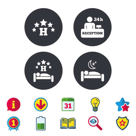 Five stars hotel icons. Travel rest place symbols. Human sleep in bed sign. Hotel 24 hours registration or reception. Calendar, Information and Download signs. Stars, Award and Book icons. Vector