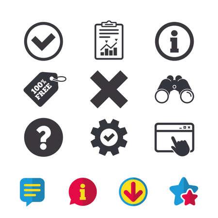 情報アイコン。削除し、FAQ のマークの標識を質問します。承認のチェック マーク記号。ブラウザー ウィンドウ、レポートとサービスの兆候。双眼