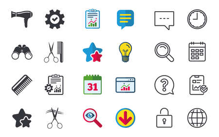 Hairdresser icons. Scissors cut hair symbol. Comb hair with hairdryer sign. Chat, Report and Calendar signs. Stars, Statistics and Download icons. Question, Clock and Globe.