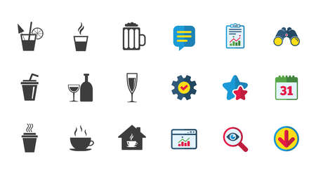 Tea, coffee and beer icons. Beer, wine and cocktail signs. Take away drinks. Calendar, Report and Download signs. Stars, Service and Search icons. Statistics, Binoculars and Chat. Ilustração