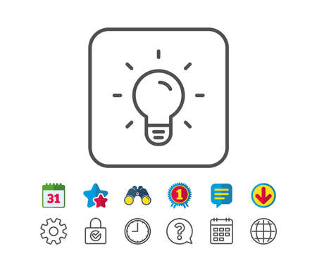 Light Bulb line icon. Lamp sign. Idea, Solution or Thinking symbol. Calendar, Globe and Chat line signs. Binoculars, Award and Download icons. Editable stroke. Vector