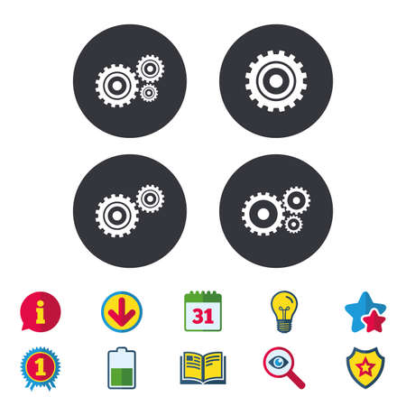 Cogwheel gear icons. Mechanism symbol. Website or App settings sign. Working process performance. Calendar, Information and Download signs. Stars, Award and Book icons. Light bulb, Shield and Search