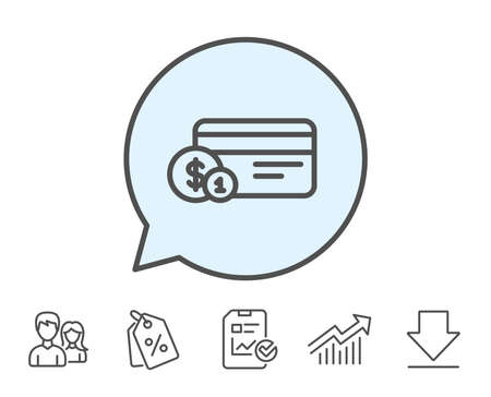 Credit card line icon. Banking Payment card with Coins sign. ATM service symbol. Report, Sale Coupons and Chart line signs. Download, Group icons. Editable stroke. Vector