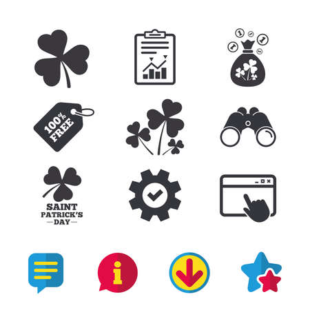 Saint Patrick day icons. Money bag with clover and coins sign. Trefoil shamrock clover. Symbol of good luck. Browser window, Report and Service signs. Binoculars, Information and Download icons Illustration