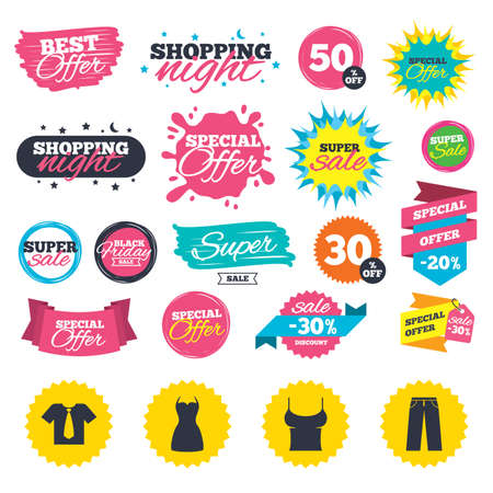 Sale shopping banners. Clothes icons. T-shirt with business tie and pants signs. Women dress symbol. Web badges, splash and stickers. Best offer. Vector Illustration