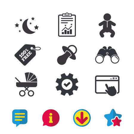 Moon and stars symbol. Baby infants icon. Buggy and dummy signs. Child pacifier and pram stroller. Browser window, Report and Service signs. Binoculars, Information and Download icons. Stars and Chat Illustration
