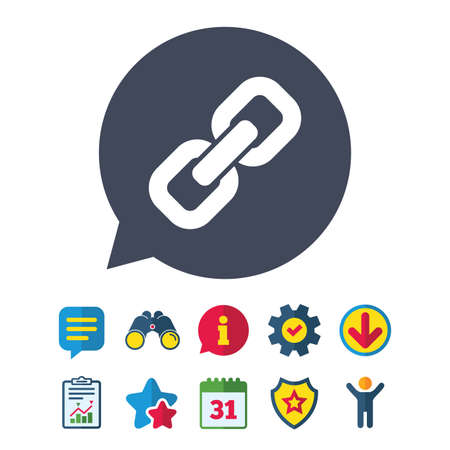 Link sign icon. Hyperlink chain symbol. Information, Report and Speech bubble signs. Binoculars, Service and Download, Stars icons. Vector