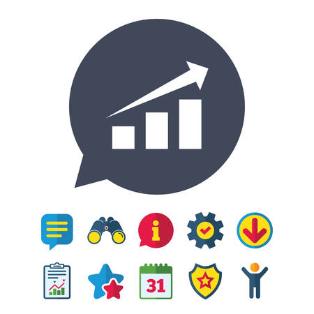 Chart with arrow sign icon. Success diagram symbol. Statistics. Information, Report and Speech bubble signs. Binoculars, Service and Download, Stars icons. Vector Illustration