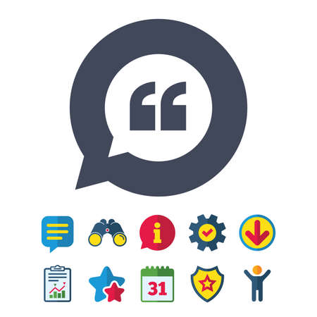 Quote sign icon. Quotation mark in speech bubble symbol. Double quotes. Information, Report and Speech bubble signs. Binoculars, Service and Download, Stars icons. Vector Illustration