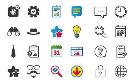 Hipster photo camera. Mustache with beard icon. Glasses and tie symbols. Classic hat headdress sign. Chat, Report and Calendar signs. Stars, Statistics and Download icons. Question, Clock and Globe Illustration