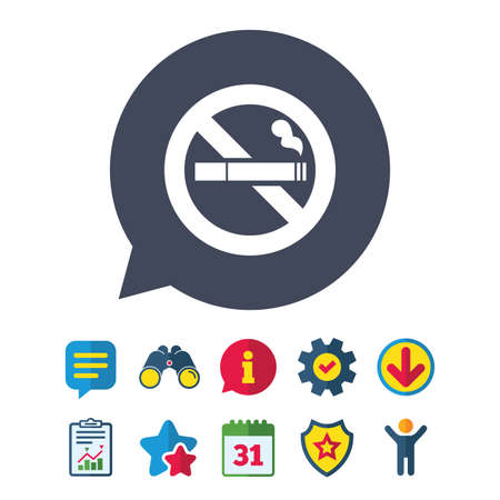 No Smoking sign icon. Cigarette symbol. Information, Report and Speech bubble signs. Binoculars, Service and Download, Stars icons. Vector