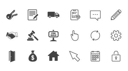 Real estate, auction icons. Handshake, for sale and money bag signs. Keys, delivery truck and door symbols. Chat, Report and Calendar line signs. Service, Pencil and Locker icons. Vector