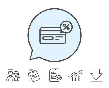 Credit card line icon. Banking Payment card with Discount sign. Cashback service symbol. Report, Sale Coupons and Chart line signs. Download, Group icons. Editable stroke. Vector