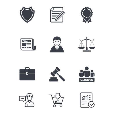변호사, 정의 아이콘의 비늘입니다. 고객, 경매 망치 및 법관 판사. 신문, 수상 및 계약 문서 표지판. 고객 서비스, 쇼핑 카트 및 보고서 라인 표지판. 벡