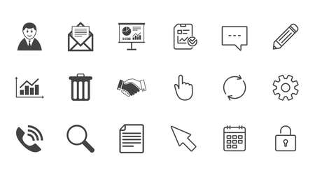 Office, documents and business icons. Businessman, handshake and call signs. Chart, presentation and mail symbols. Chat, Report and Calendar line signs. Service, Pencil and Locker icons. Vector