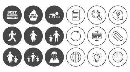 People, family icons. Swimming pool, person signs. Best mom, father and mother symbols. Document, Globe and Clock line signs. Lamp, Magnifier and Paper clip icons. Question, Credit card and Refresh