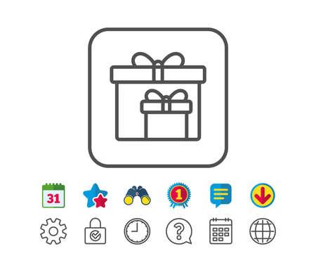 Geschenkdozen lijn pictogram. Aanwezig of verkoopbord. Verjaardag Winkelen symbool. Pakket in geschenkverpakking. Agenda-, wereldbol- en chatlijnborden. Verrekijker, Award en Download pictogrammen. Bewerkbare lijn. Vector