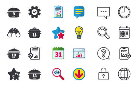 Cooking pan icons. Boil 9, 10, 11 and 12 minutes signs. Stew food symbol. Chat, Report and Calendar signs. Stars, Statistics and Download icons. Question, Clock and Globe. Vector