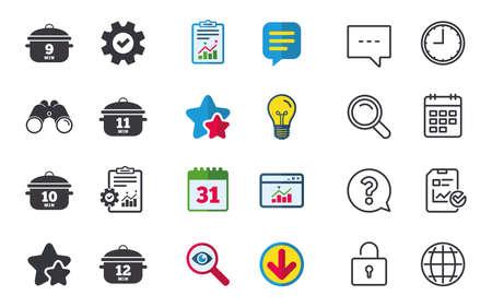 Cozinhar panela de ícones. Ferva os sinais de 9, 10, 11 e 12 minutos. Símbolo de comida de guisado. Bate-papo, relatórios e sinais de calendário. Estrelas, estatísticas e ícones de download. Pergunta, relógio e globo. Vetor Foto de archivo - 83108825