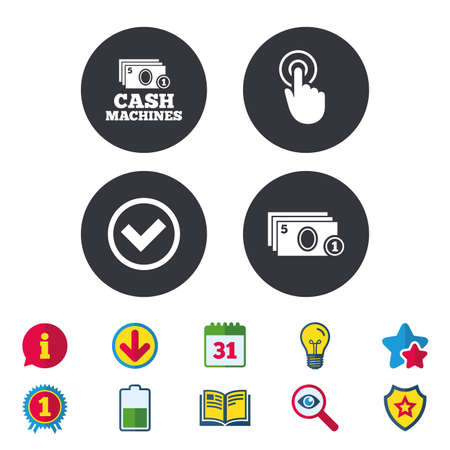 ATM cash machine withdrawal icons. Click here, check PIN number, processing and cash withdrawal symbols. Calendar, Information and Download signs. Stars, Award and Book icons. Vector Çizim