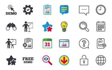 Demo with cursor icon. Presentation billboard sign. Man standing with pointer symbol. Chat, Report and Calendar signs. Stars, Statistics and Download icons. Vector Illustration