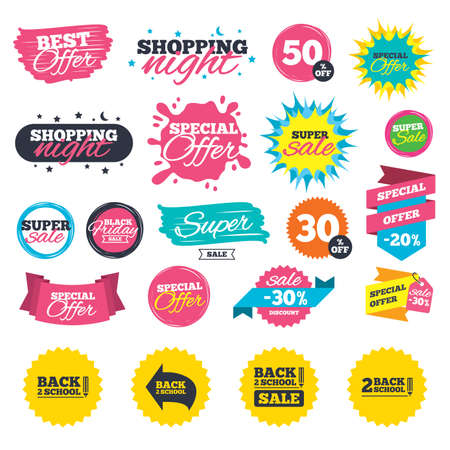 Sale shopping banners. Back to school sale icons. Studies after the holidays signs. Pencil symbol. Web badges, splash and stickers. Best offer. Vector Illustration