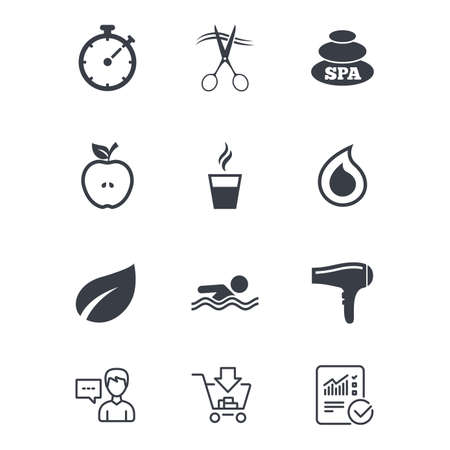 Spa, hairdressing icons. Swimming pool sign. Water drop, scissors and hairdryer symbols. Customer service, Shopping cart and Report line signs. Online shopping and Statistics. Vector